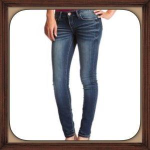Refuge Glam Blue Distressed Ultra Skinny Jeans EUC